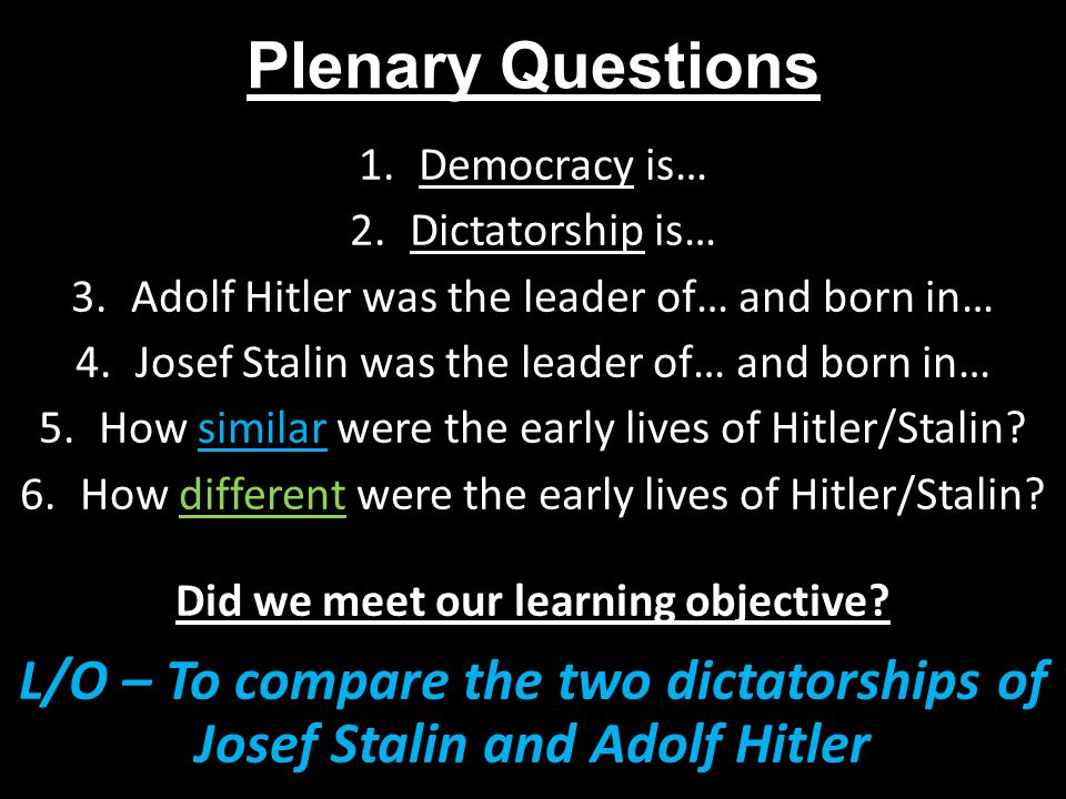 A comparison between joseph stalin and adolf hitler