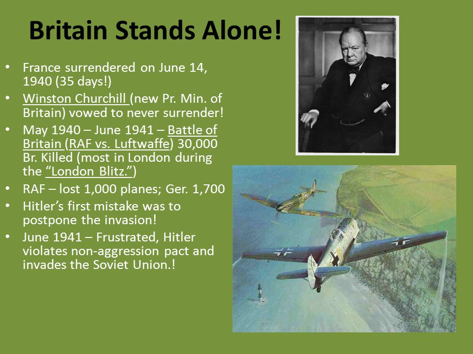 Britain Stands Alone! France surrendered on June 14, 1940 (35 days!)