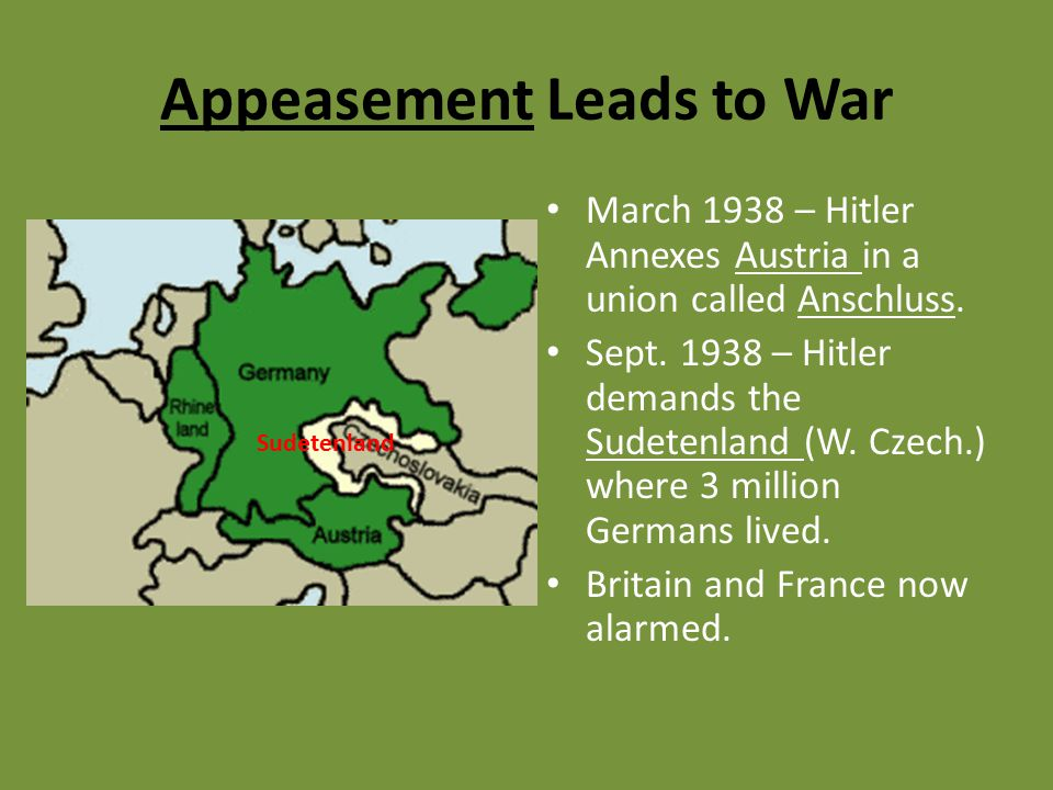 Appeasement Leads to War