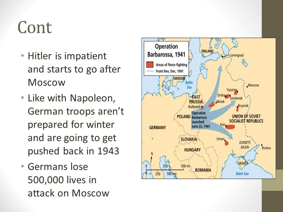 Cont Hitler is impatient and starts to go after Moscow