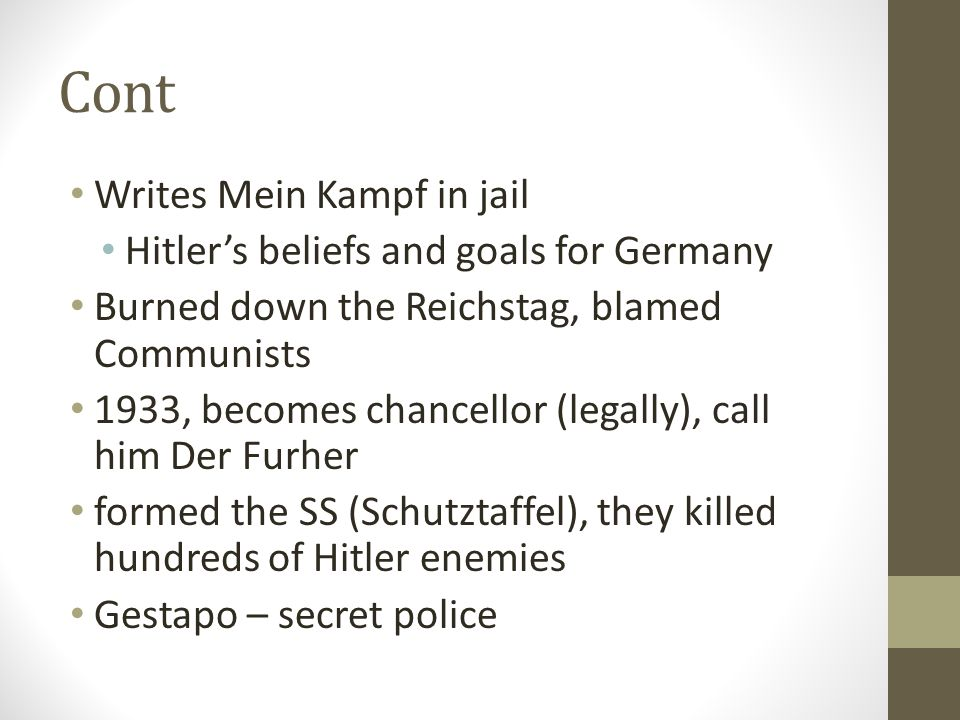 Cont Writes Mein Kampf in jail Hitler's beliefs and goals for Germany