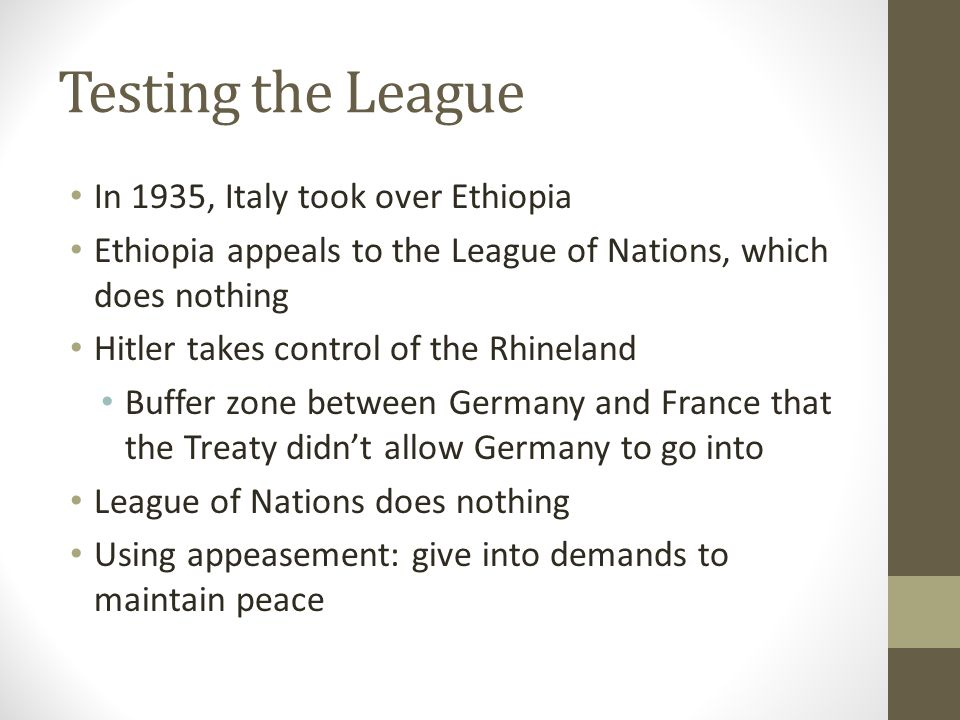 Testing the League In 1935, Italy took over Ethiopia
