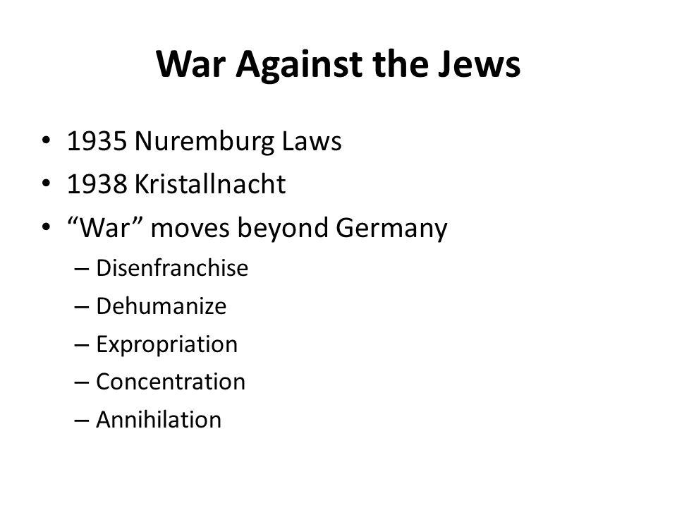 War Against the Jews 1935 Nuremburg Laws 1938 Kristallnacht