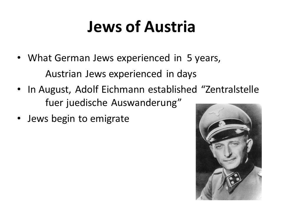 Jews of Austria What German Jews experienced in 5 years,