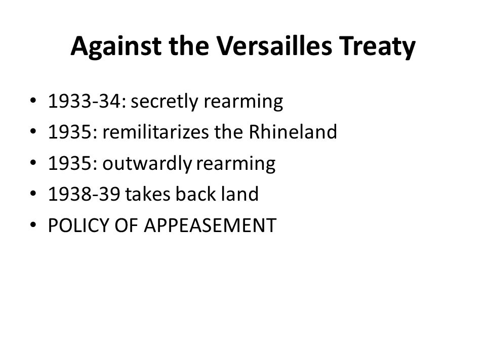 Against the Versailles Treaty