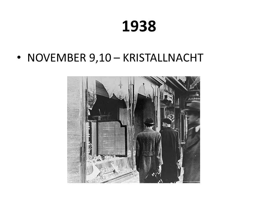 1938 NOVEMBER 9,10 – KRISTALLNACHT