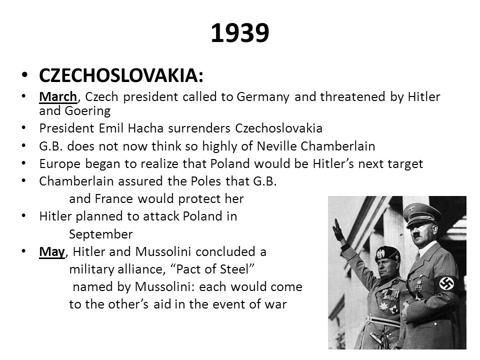 1939 CZECHOSLOVAKIA: March, Czech president called to Germany and threatened by Hitler and Goering.