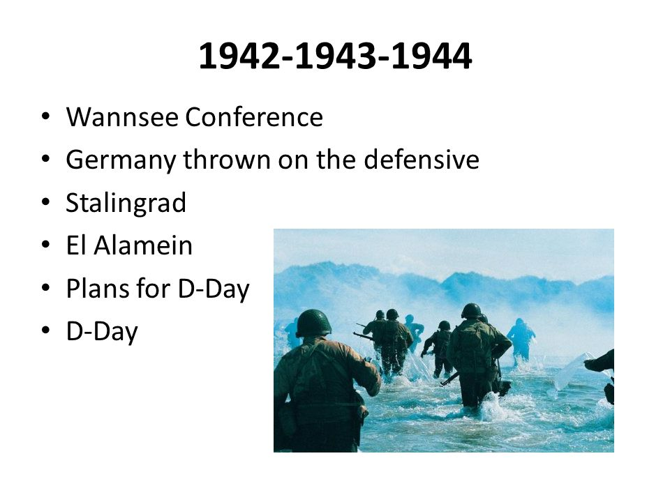 1942-1943-1944 Wannsee Conference Germany thrown on the defensive