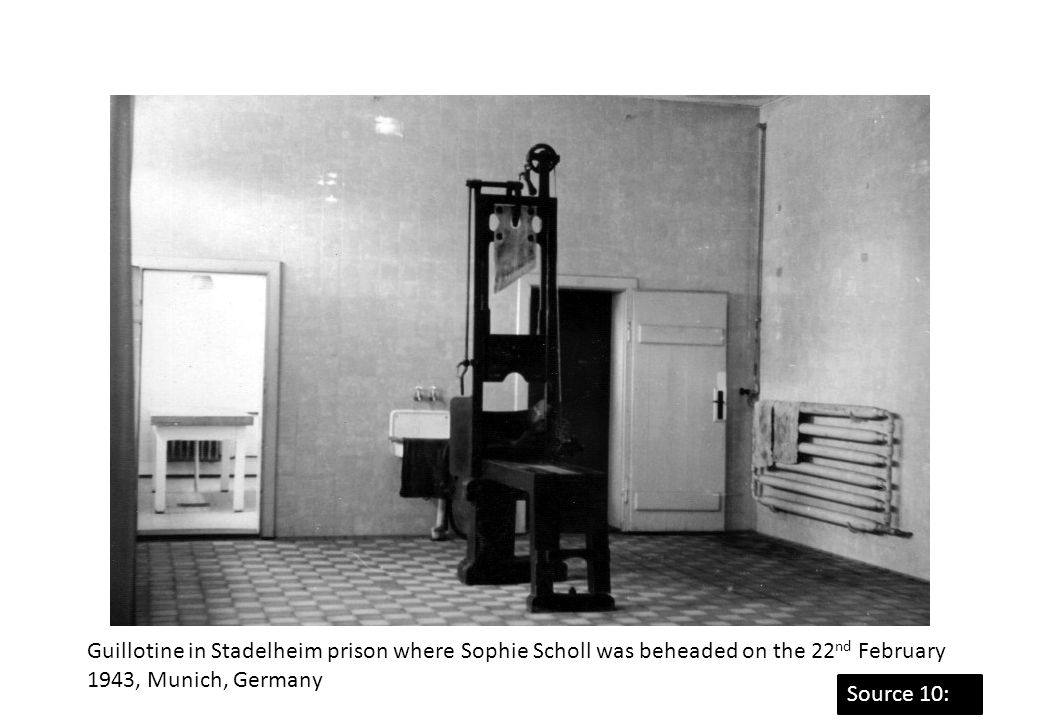 Guillotine in Stadelheim prison where Sophie Scholl was beheaded on the 22nd February 1943, Munich, Germany