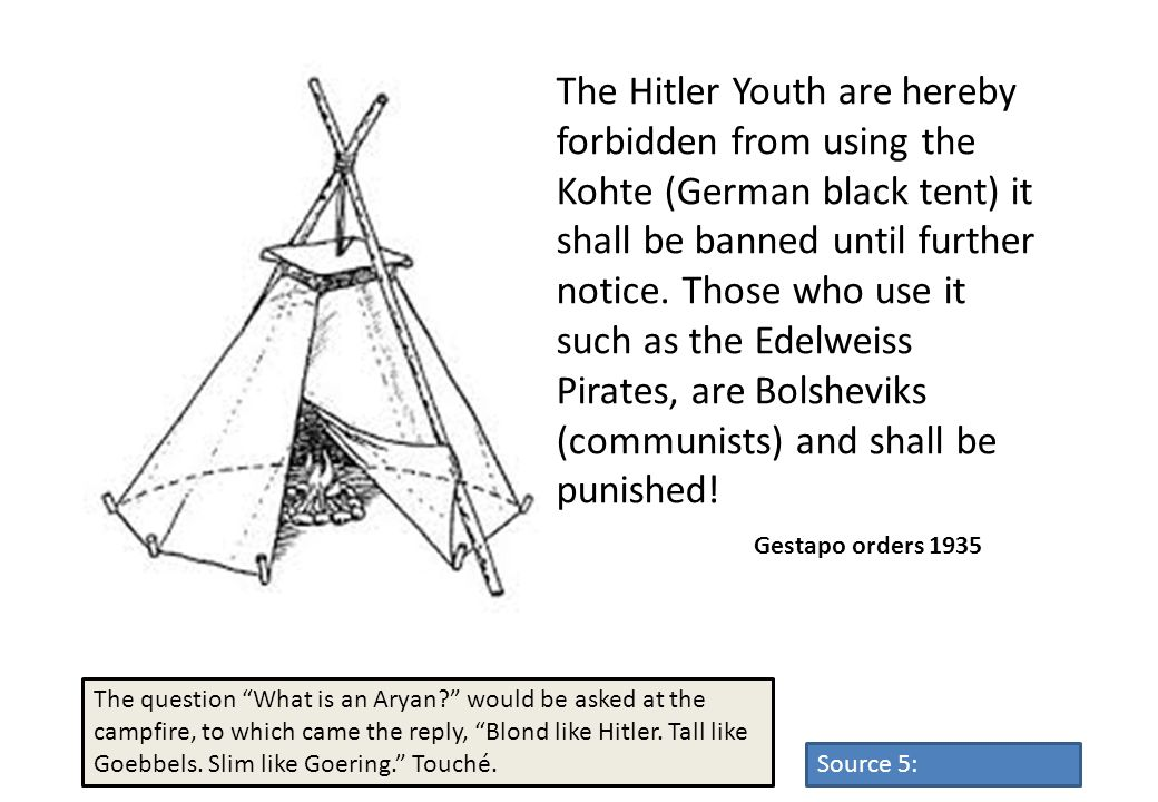 The Hitler Youth are hereby forbidden from using the Kohte (German black tent) it shall be banned until further notice. Those who use it such as the Edelweiss Pirates, are Bolsheviks (communists) and shall be punished!
