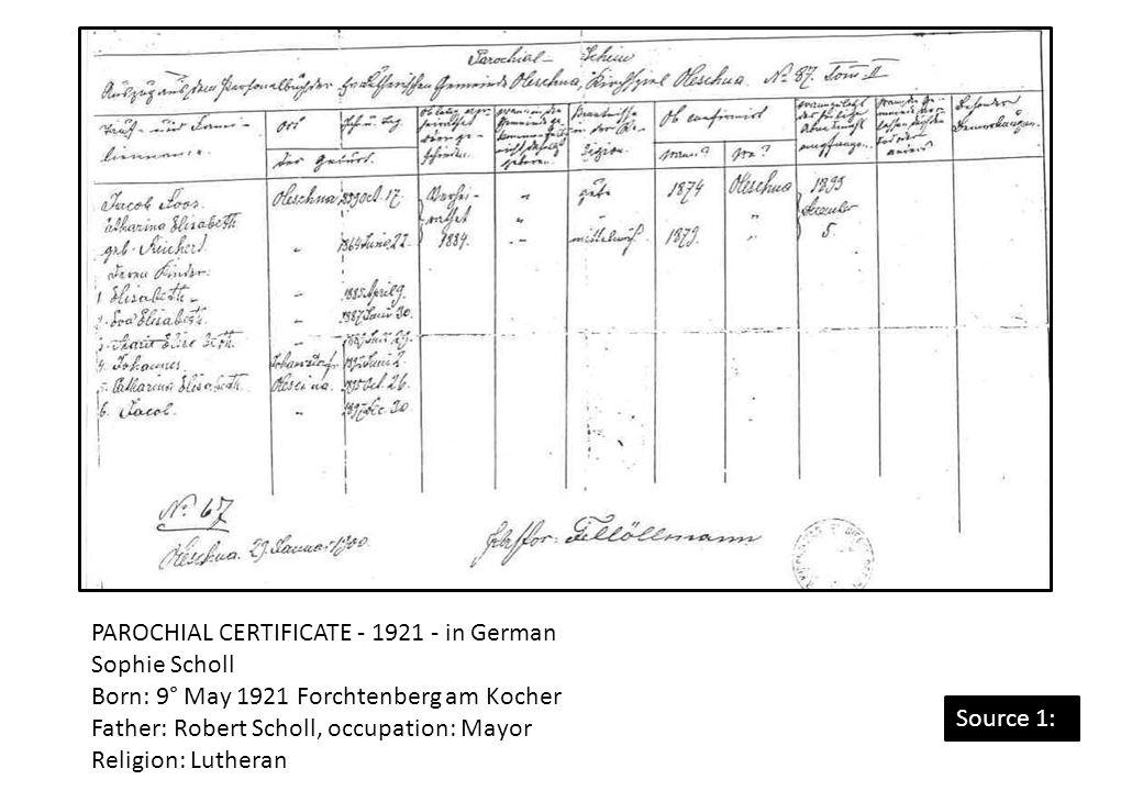 PAROCHIAL CERTIFICATE - 1921 - in German Sophie Scholl