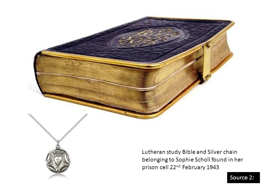 Lutheran study Bible and Silver chain belonging to Sophie Scholl found in her prison cell 22nd February 1943