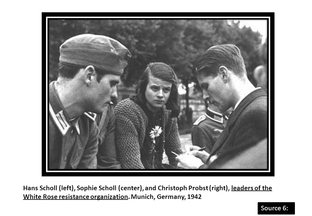 Hans Scholl (left), Sophie Scholl (center), and Christoph Probst (right), leaders of the White Rose resistance organization. Munich, Germany, 1942