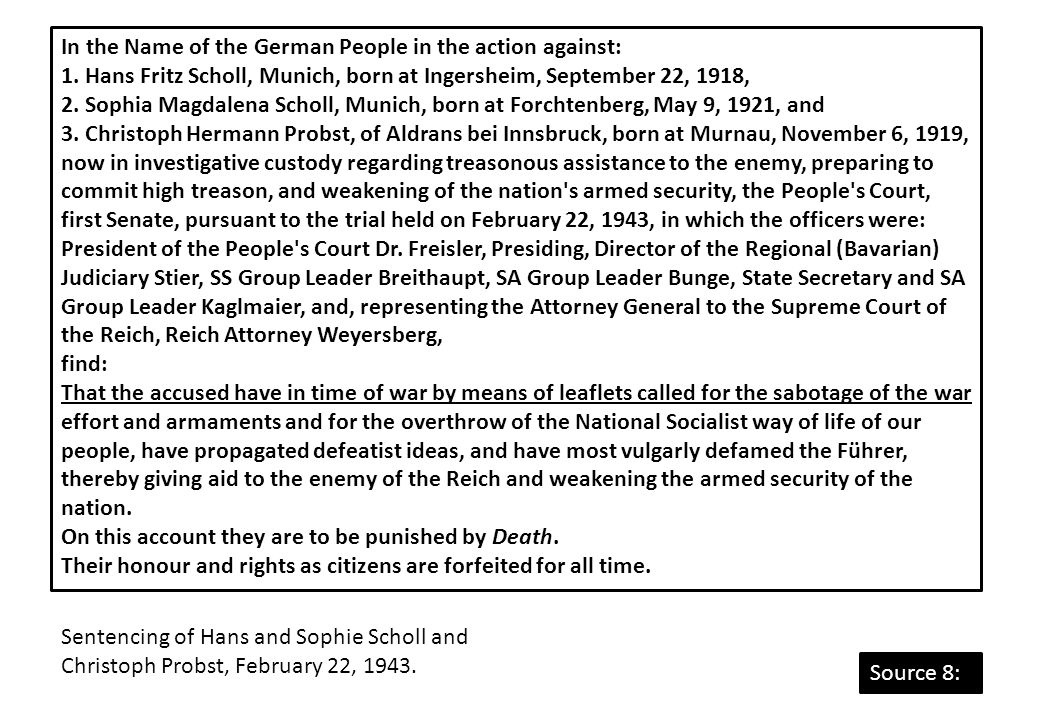 In the Name of the German People in the action against: 1