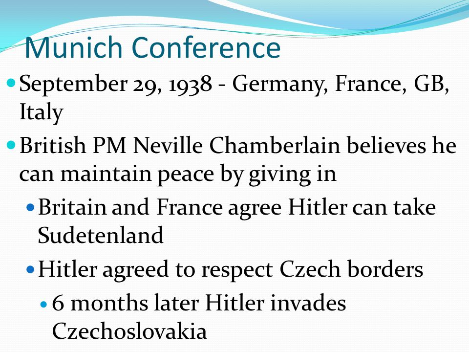 Munich Conference September 29, 1938 - Germany, France, GB, Italy