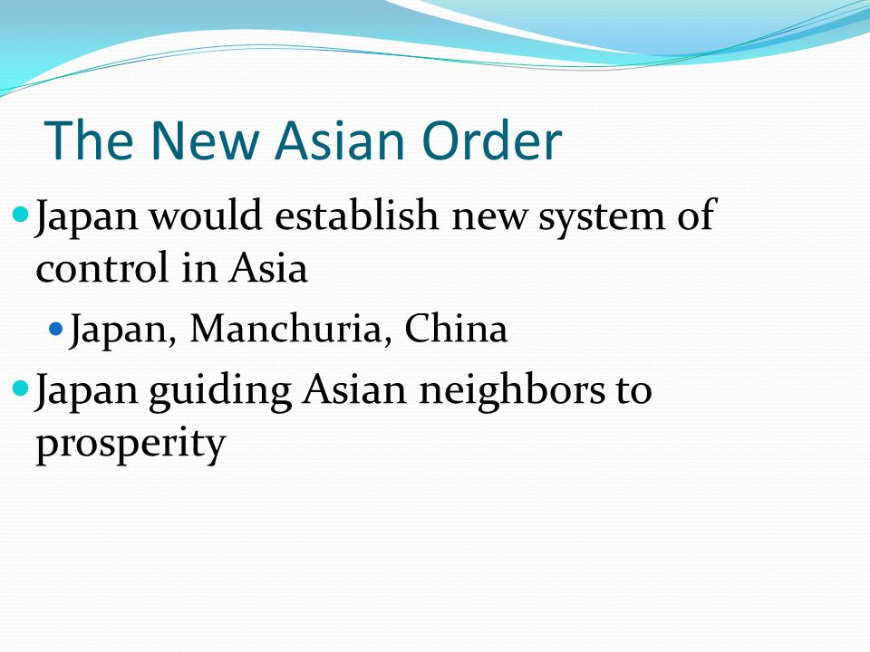 The New Asian Order Japan would establish new system of control in Asia.