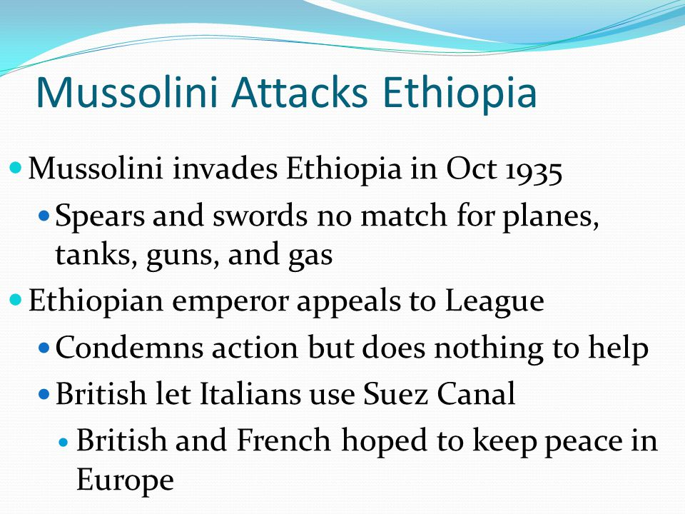 Mussolini Attacks Ethiopia
