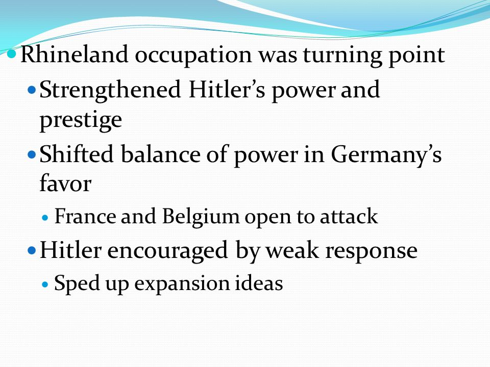 Rhineland occupation was turning point