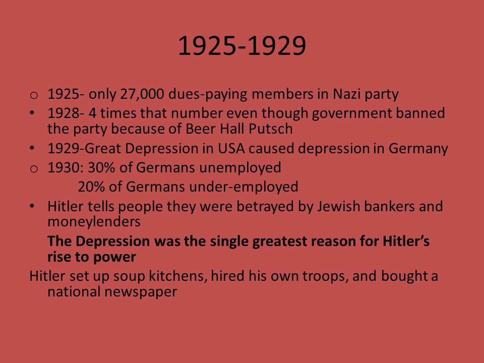 1925-1929 1925- only 27,000 dues-paying members in Nazi party