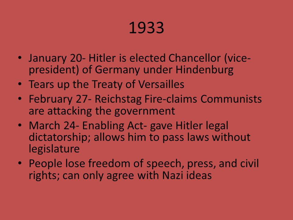 1933 January 20- Hitler is elected Chancellor (vice-president) of Germany under Hindenburg. Tears up the Treaty of Versailles.