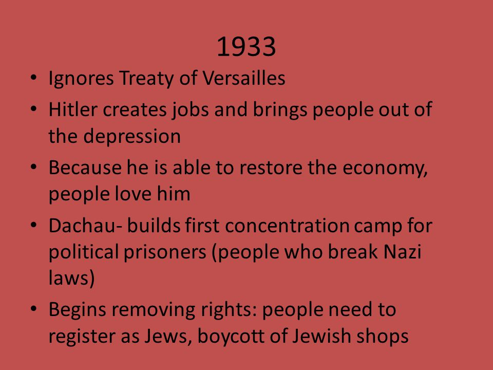 1933 Ignores Treaty of Versailles