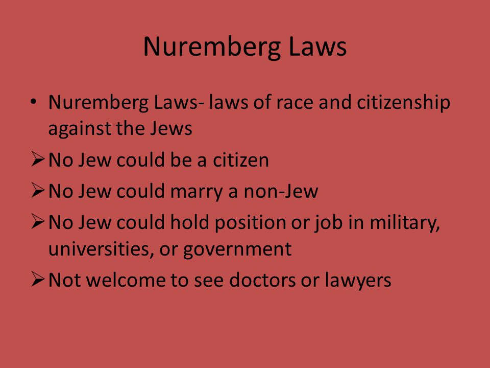 Nuremberg Laws Nuremberg Laws- laws of race and citizenship against the Jews. No Jew could be a citizen.