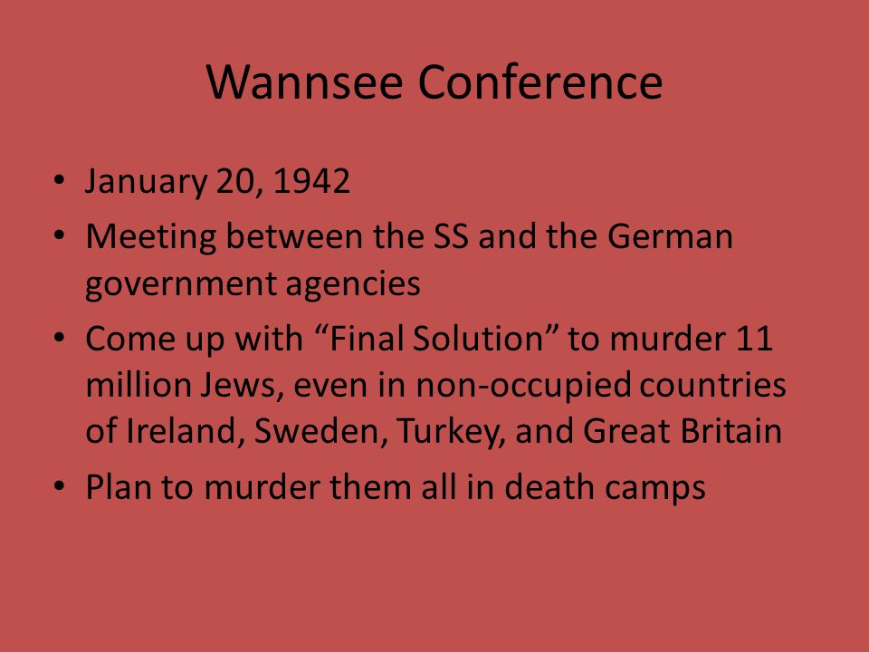 Wannsee Conference January 20, 1942