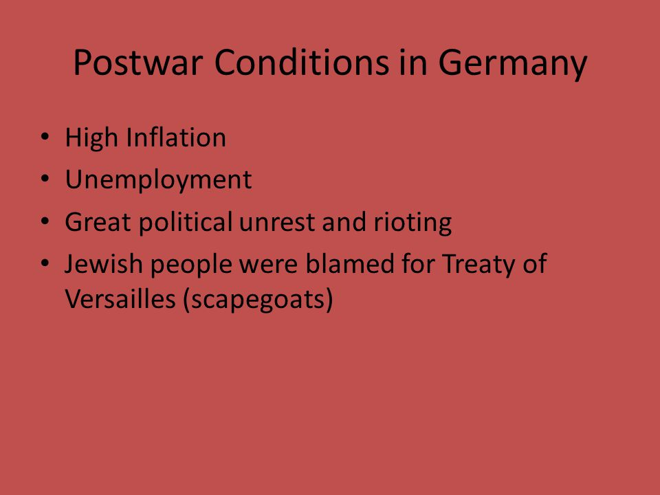 Postwar Conditions in Germany