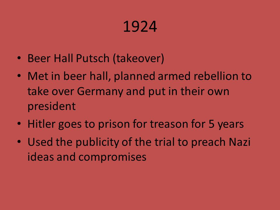 1924 Beer Hall Putsch (takeover)