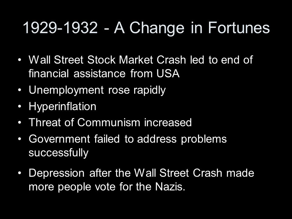 1929-1932 - A Change in Fortunes Wall Street Stock Market Crash led to end of financial assistance from USA.
