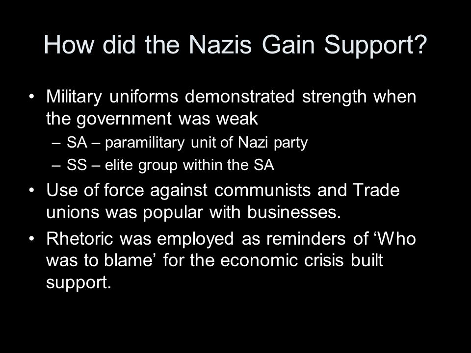 How did the Nazis Gain Support