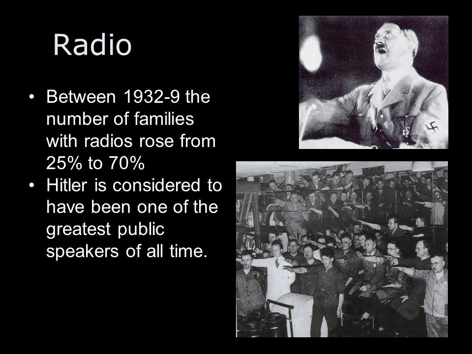 Radio Between 1932-9 the number of families with radios rose from 25% to 70%