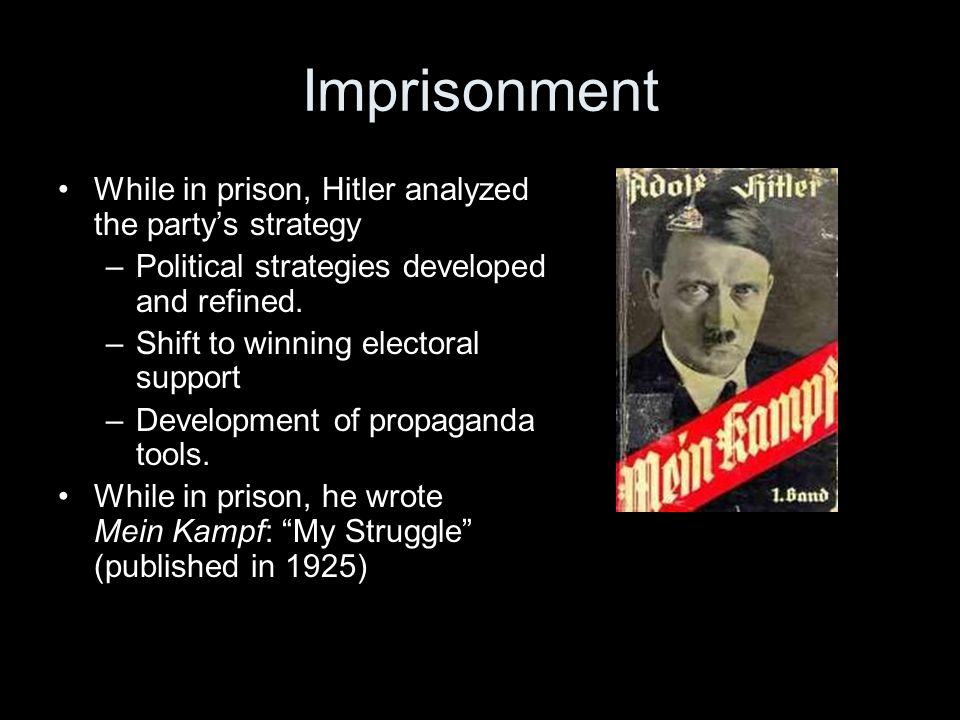Imprisonment While in prison, Hitler analyzed the party's strategy