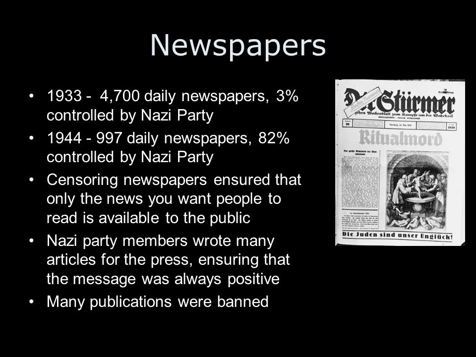 Newspapers 1933 - 4,700 daily newspapers, 3% controlled by Nazi Party