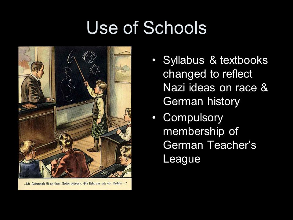 Use of Schools Syllabus & textbooks changed to reflect Nazi ideas on race & German history.
