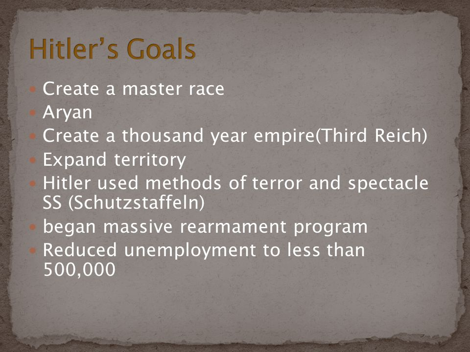 Hitler's Goals Create a master race Aryan