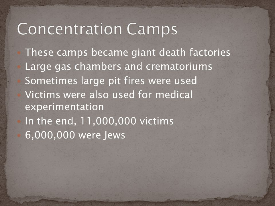 Concentration Camps These camps became giant death factories
