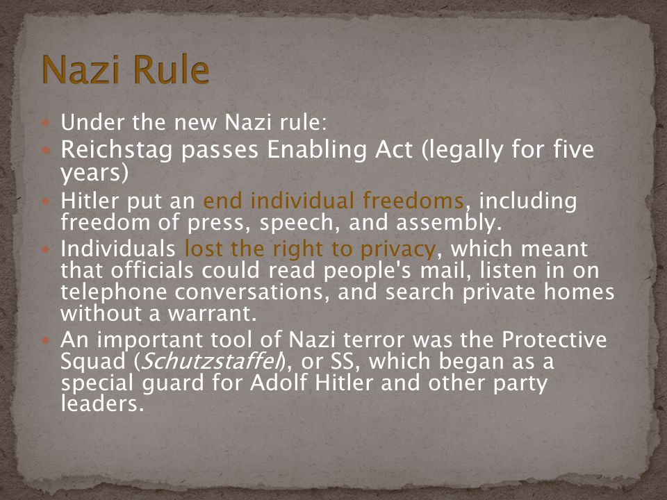 Nazi Rule Reichstag passes Enabling Act (legally for five years)