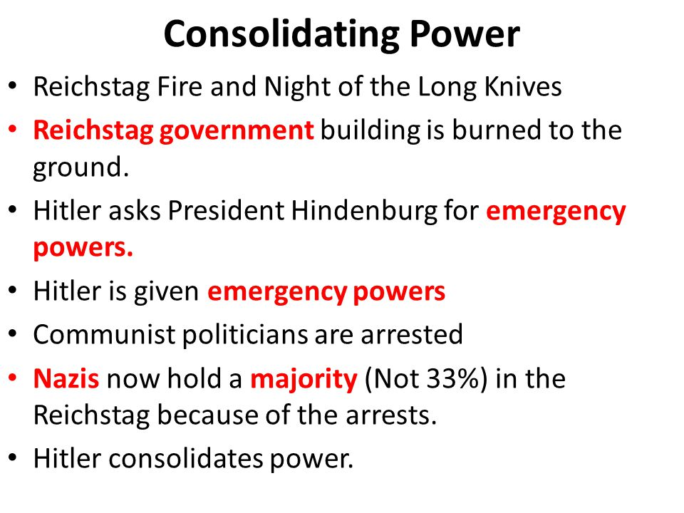 Consolidating Power Reichstag Fire and Night of the Long Knives