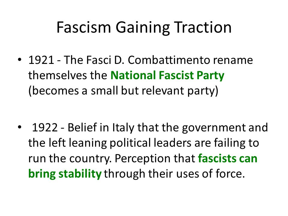 Fascism Gaining Traction