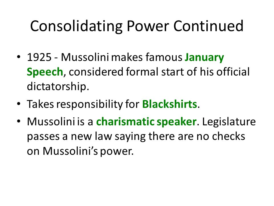 Consolidating Power Continued