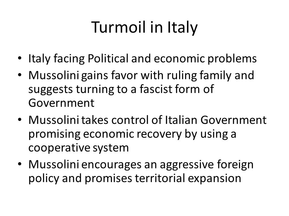 Turmoil in Italy Italy facing Political and economic problems