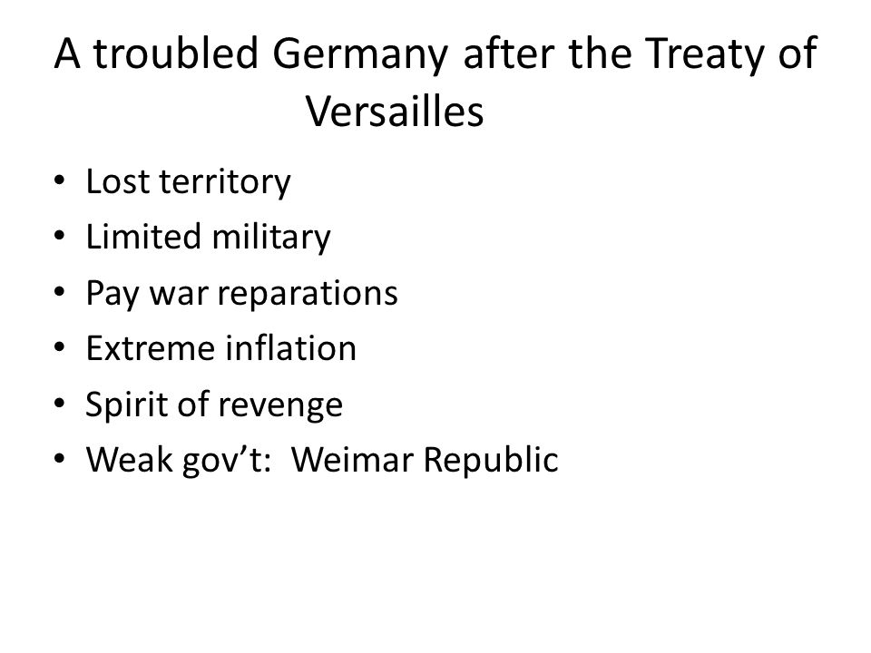 A troubled Germany after the Treaty of Versailles