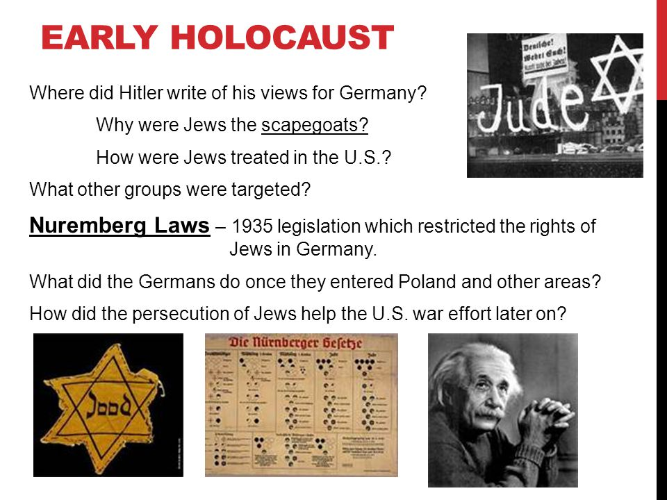 Early Holocaust Where did Hitler write of his views for Germany Why were Jews the scapegoats How were Jews treated in the U.S.