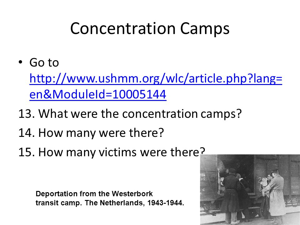 Concentration Camps Go to http://www.ushmm.org/wlc/article.php lang=en&ModuleId=10005144. 13. What were the concentration camps