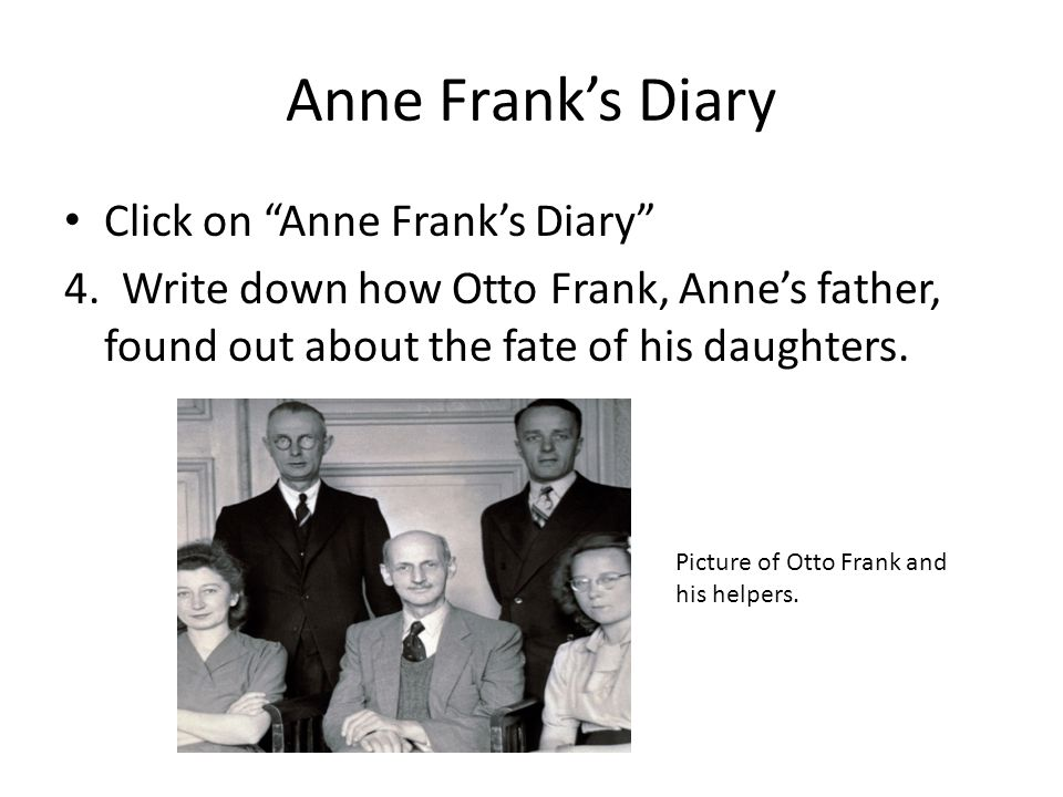 Anne Frank's Diary Click on Anne Frank's Diary