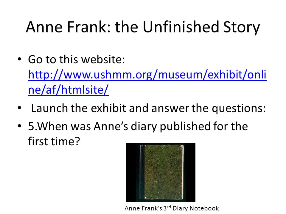 Anne Frank: the Unfinished Story