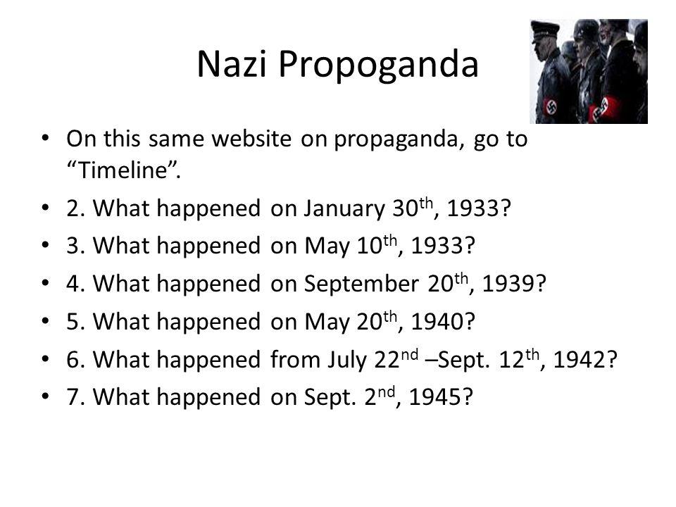 Nazi Propoganda On this same website on propaganda, go to Timeline .