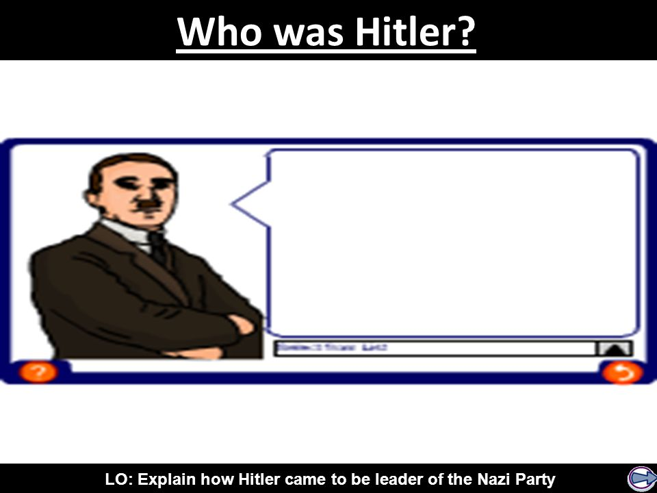 LO: Explain how Hitler came to be leader of the Nazi Party