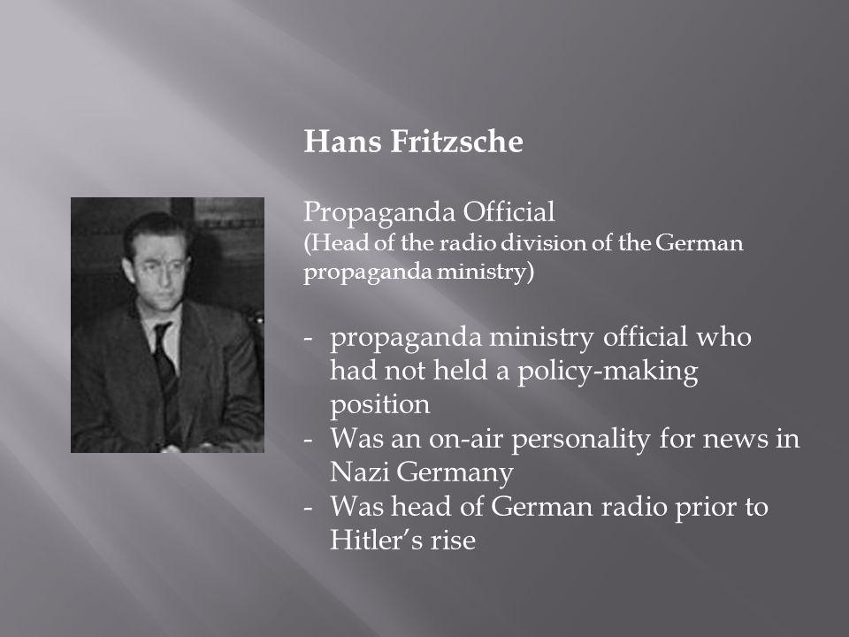 Hans Fritzsche Propaganda Official